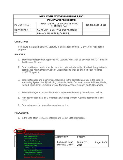 CSD 14-016 How to Encode Brandnew MC Plan.mc loan(ok)