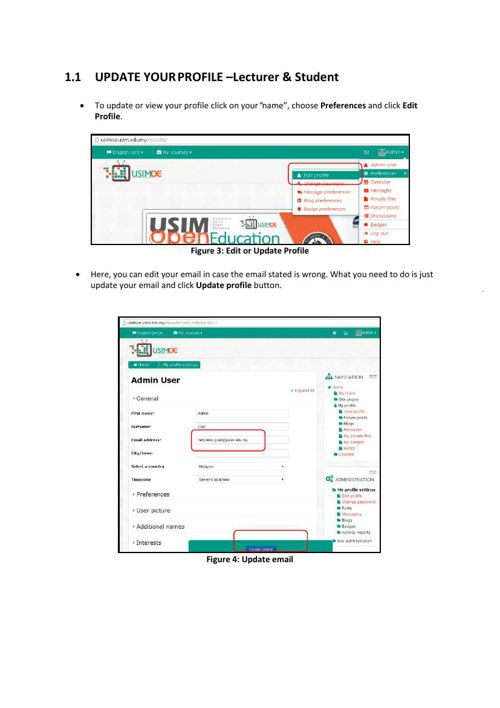 Update Profile in USIMOE - Lecturer and Student