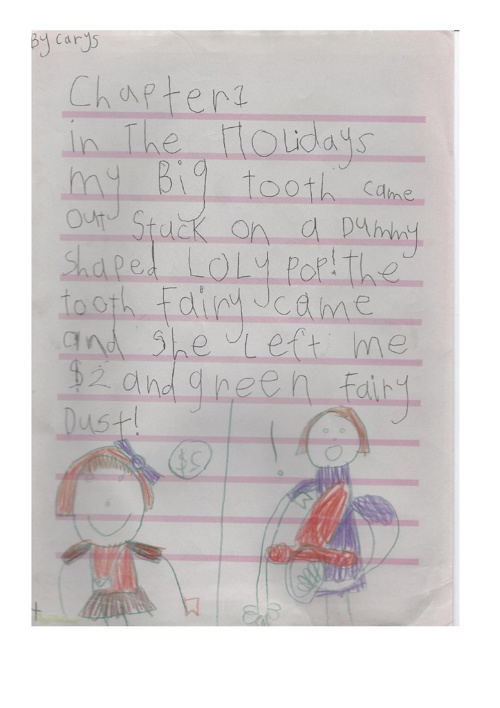 Carys Jones Summer Holiday letter to Ms. Nelson