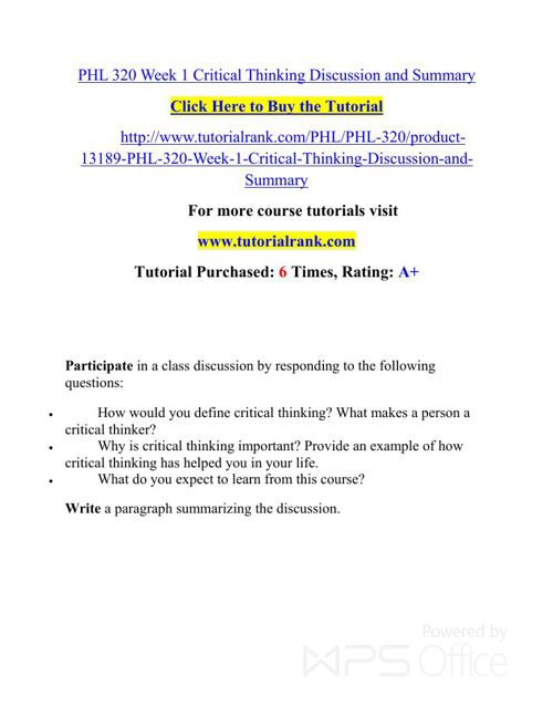 PHL 320 UOP Courses /TutorialRank