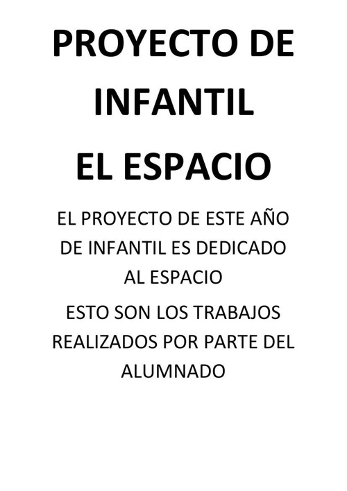 PROYECTO DE INFANTIL     EL UNIVERSO