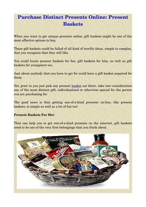 Purchase Distinct Presents Online: Present Baskets