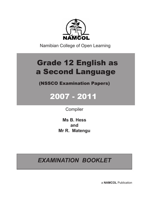 NSSCO ENGLISH AS A SECOND LANGUAGE EXAMINATION PAPERS 2007- 2011