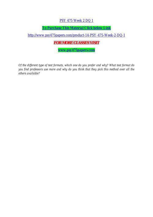 PSY 475 Week 2 DQ 1
