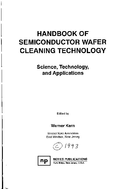 Semiconductor Wafer Cleaning Technology . A Handbook