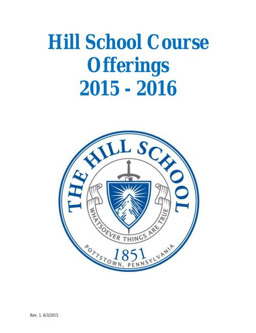 The Hill School Course Offerings 2015-16