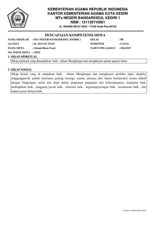 laporan k13  mtsn 1 kediri