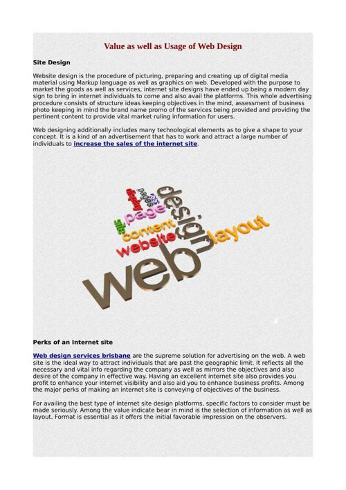 Value as well as Usage of Web Design