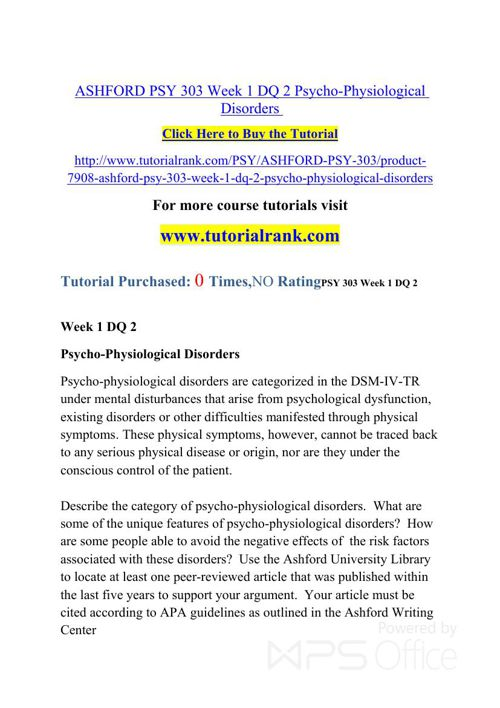ASHFORD PSY 303   Academic professor / Tutorialrank.com
