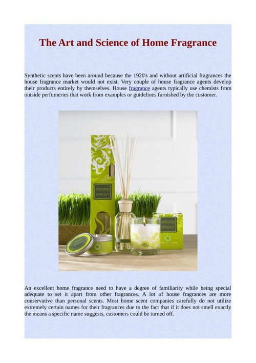 The Art and Science of Home Fragrance
