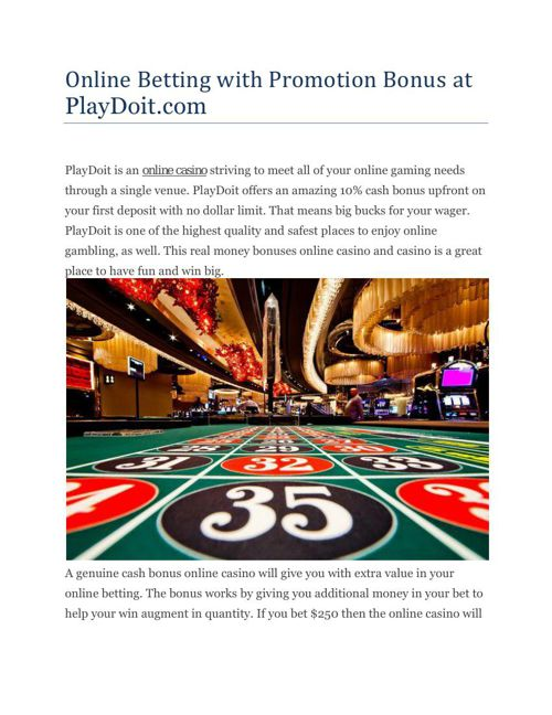 Online Betting with Promotion Bonus at PlayDoit