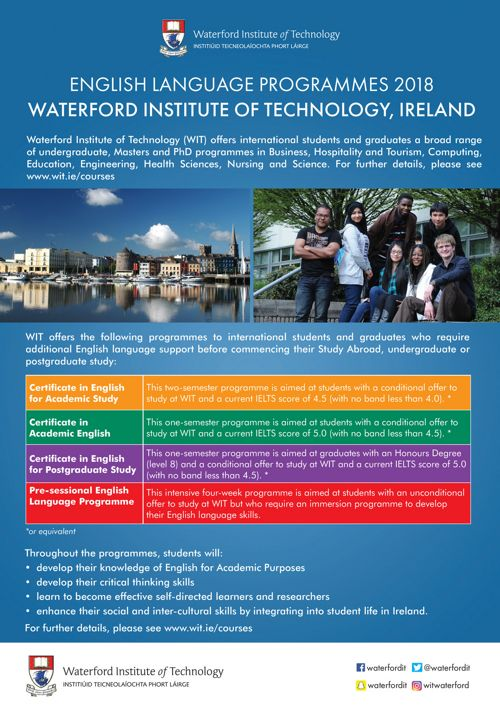 WIT English for International Students Flyer