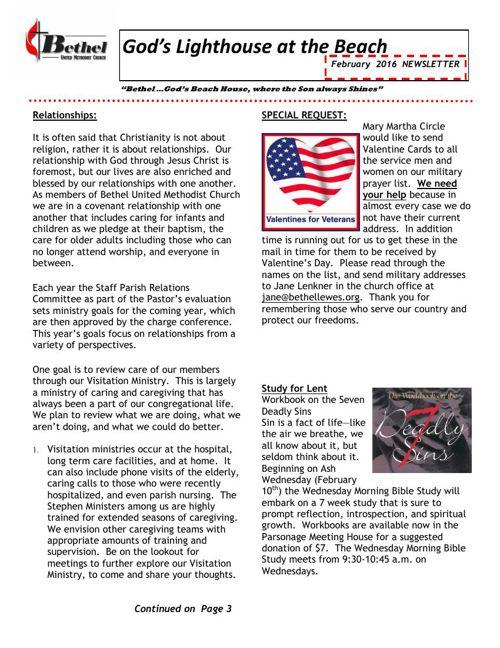 Bethel UMC February 2016 Newsletter
