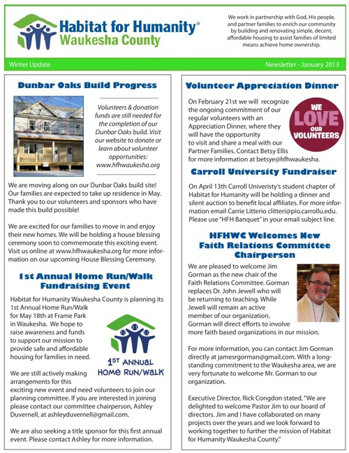 HFHWC Winter Newsletter