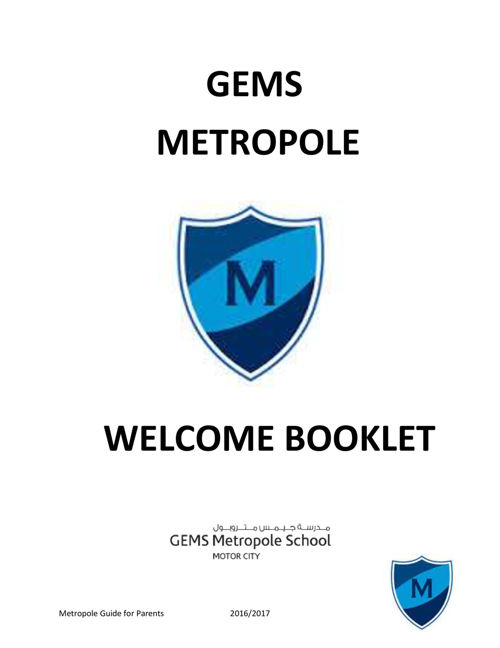 Gems Metropole Welcome booklet