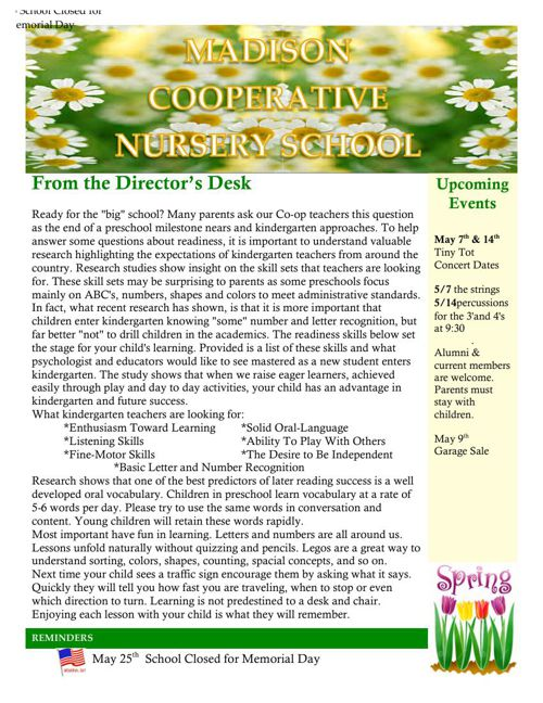 Madison Co-op May Newsletter