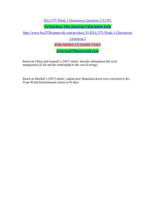 BSA 385 HOMEWORK professional tutor/bsa385homework.com