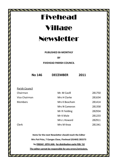 Village Newsletter December 2011