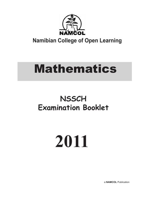 NSSCH MATHEMATICS EXAMINATION BOOKLET 2011