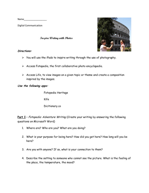 Copy of Writing with Photos