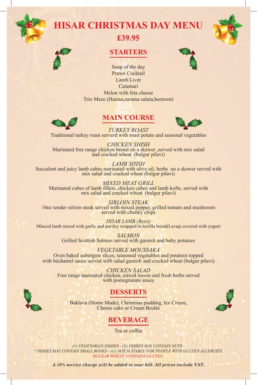 Hisar Christmas DAY  menu 2013