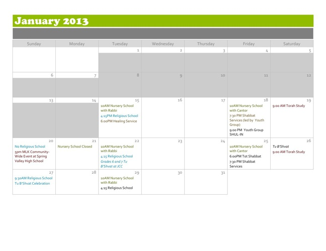 Temple Beth Sholom Calendar (Beta)