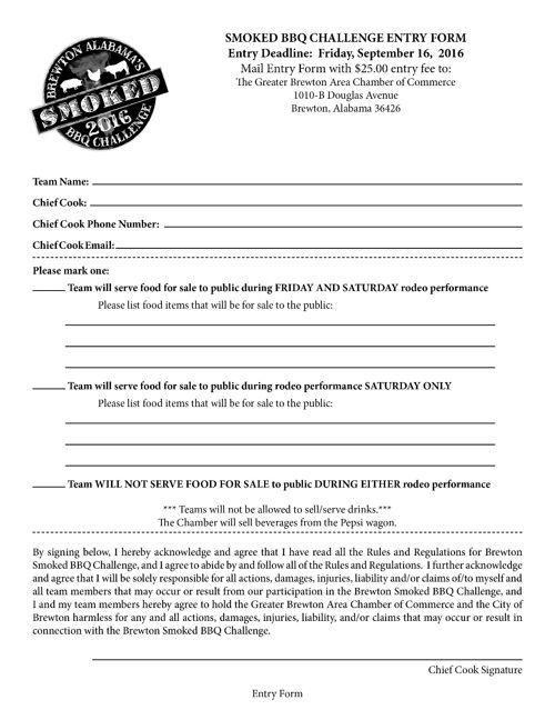 Smoked BBQ 2016 Rules and Entry