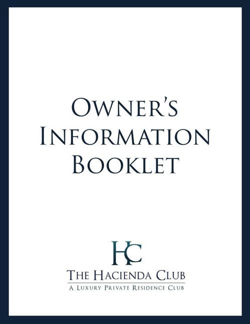 Hacienda Club Owner's Booklet