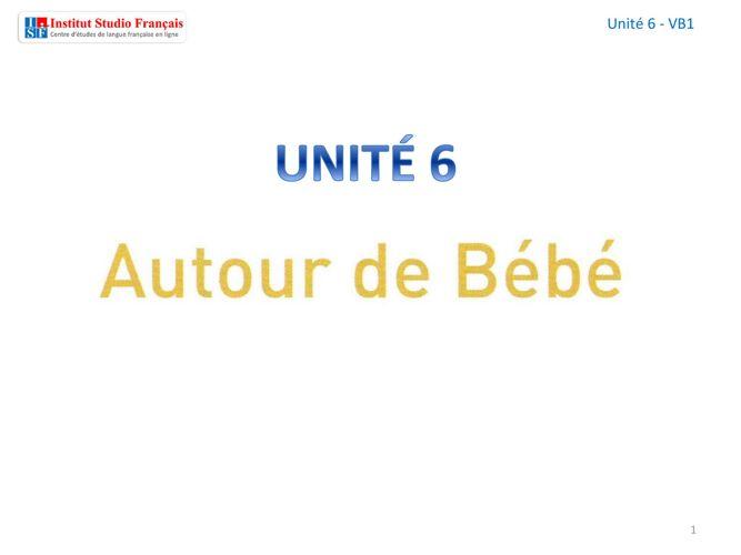 ISF - Unité 6 - Autour du bébé