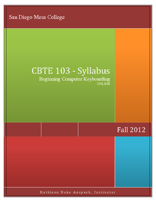 CBTE 103 Fall 2012 ONLINE