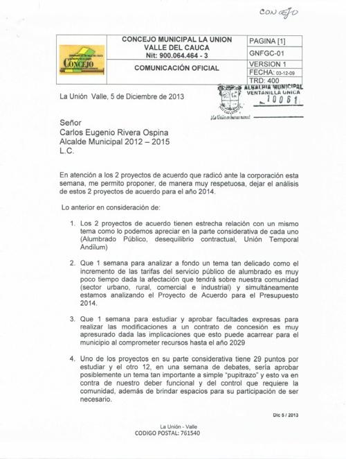 OFICIO AL SR ALCALDE DEL PRESIDENTE DEL CONCEJO, DIC 5/2013