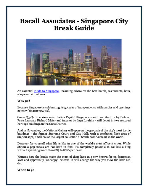 Bacall Associates - Singapore City Break Guide