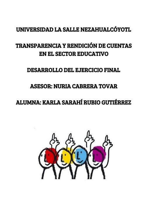 TRANSPARENCIA Y RENDICIÓN DE CUENTAS EN EL SECTOR EDUCATIVO