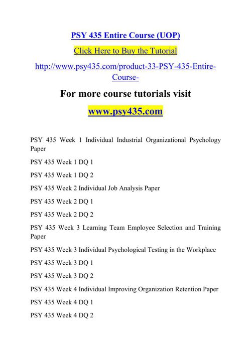 PSY 435 Entire Course (UOP)