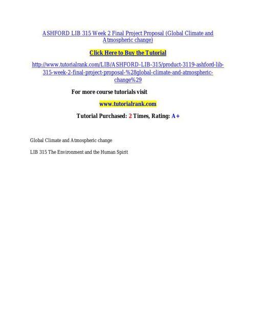 ASHFORD LIB 315 Week 2 Final Project Proposal