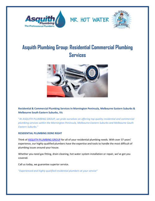 Asquith Plumbing Group Residential Commercial Plumbing Services