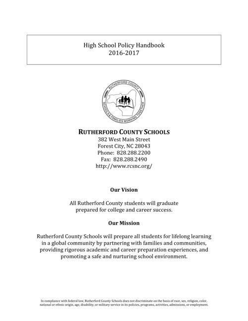 High School Policy Handbook 2016-2017