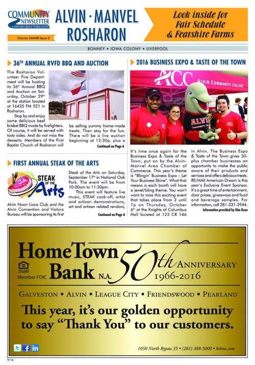 Alvin-Manvel-Rosharon Community Newsletter Volume 24 Issue 3