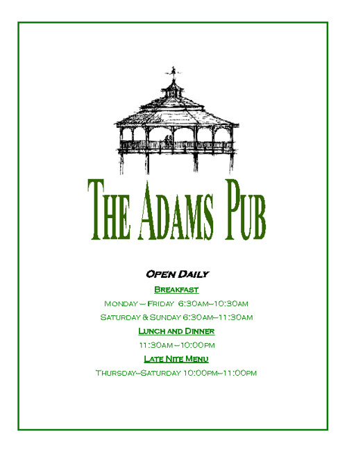 Pub Menu - Winter 2012
