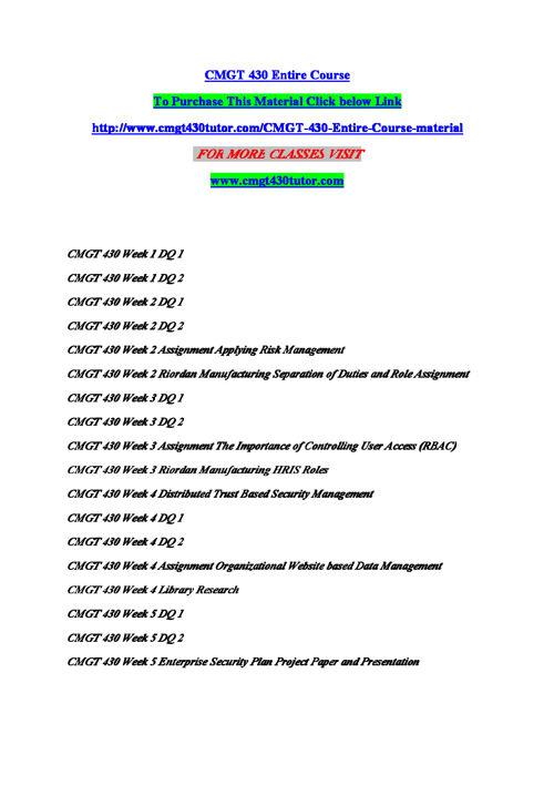 CMGT 430 Entire Course