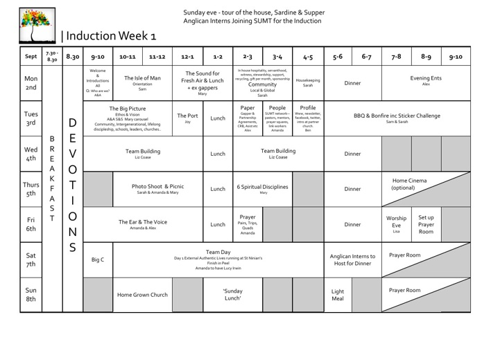 SUMT Induction Timetable 2013-14