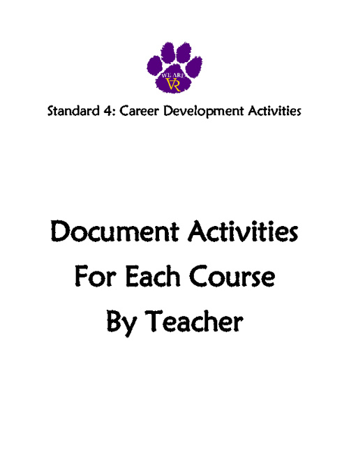 Standard 4: #38 Document Activities for Each Course by Teacher