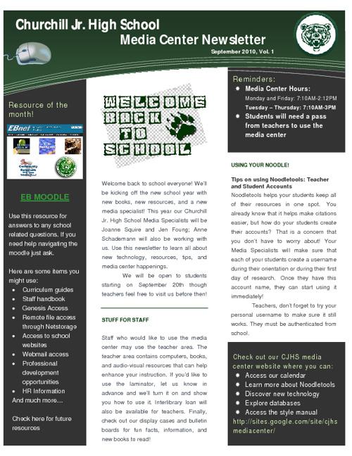 2010-2011 CJHS Media Center Newsletters