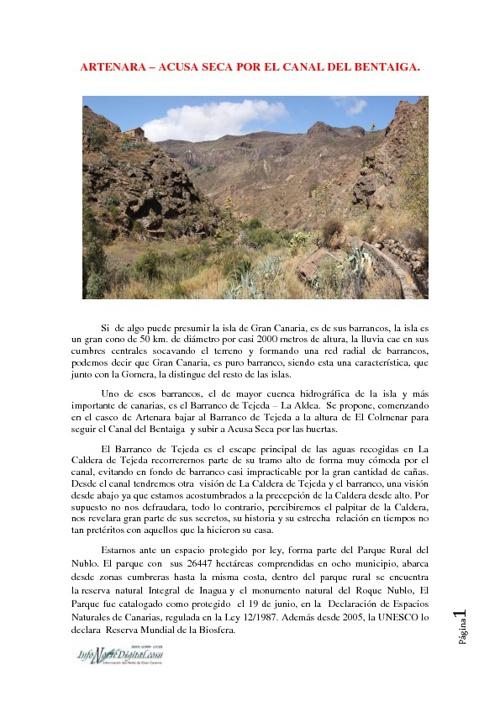 Artenara - Acusa Seca por el canal del Bentaiga