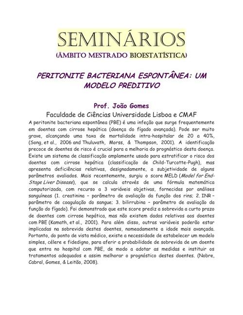 Seminário: Peritonite Bacteriana Espontânea: Um modelo preditivo