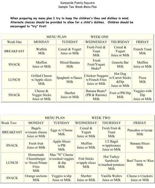 Two Week Menu Plan