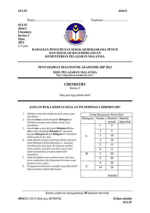 Trial SPM Kimia SBP K2 2012