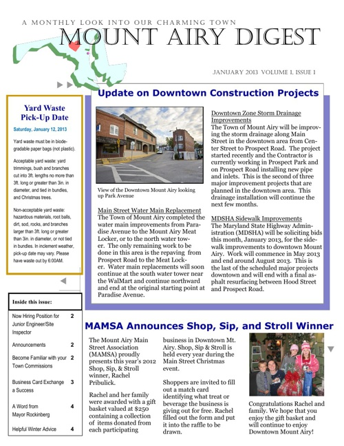 January 2013 Mount Airy Newsletter