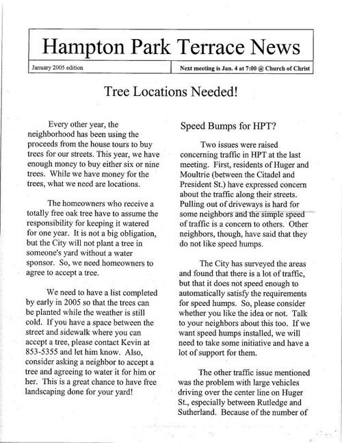 HPT Newsletter January 2005