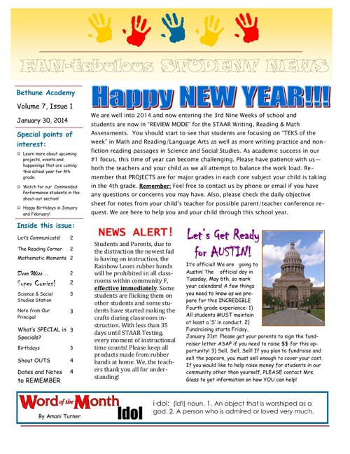 2014 NEWSLETTER 2nd 9 weeks (1)